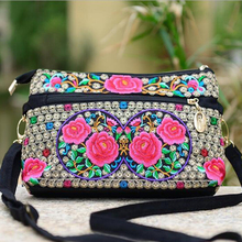 National Rose Embroidered Small Shoulder Bags Vintage Hmong Ethnic Thai Indian Boho Embroidery Unique Messenger Bag