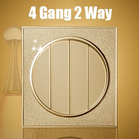 4 Gang 2 Way Golden circular  Wall switch Random Click Push Button Wall Light Switch With Panel Switch panel circular random stripe print