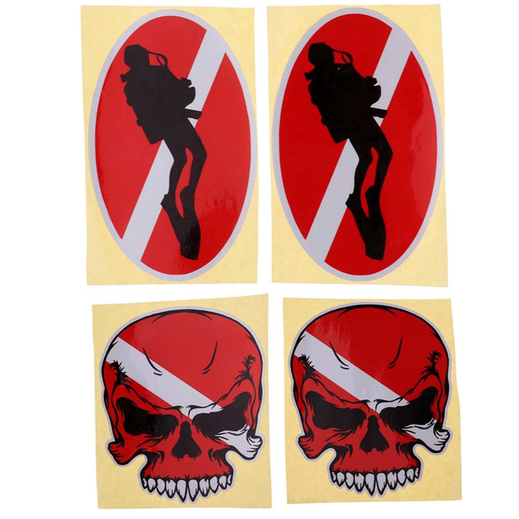 4Pcs/set Scuba Dive Sticker Diving Down Flag Cup Car Window Oval Decal For Water Sports Divers Snorkeling Swimming