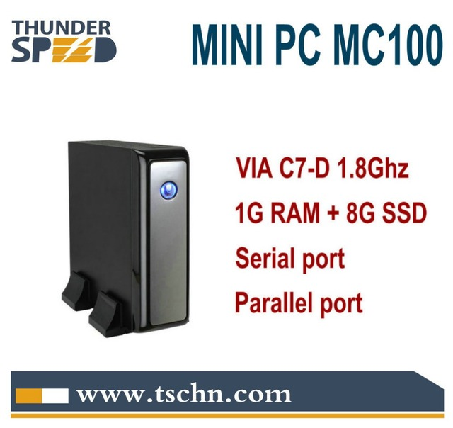 X86 Windows Mini PC Thin Client MC100 VIA C7-D 1.8Ghz CPU 1GB RAM 8GB SSD LPT Port Serial Port Windows Linux OS