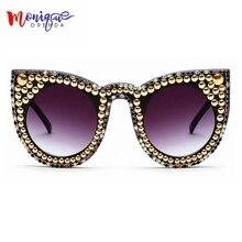 Мода Женщины Cat Eye Солнцезащитные Очки Золотые Бусы Украшения Негабаритных Солнцезащитные Очки Сияющие Стразы Мужчины Солнцезащитные Очки