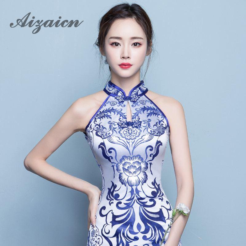 Blue Xiaqinghua фарфорлық рәсімі Cheongsam юбка - Ұлттық киім - фото 5