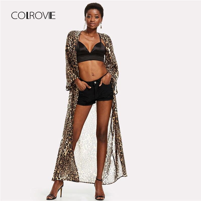 COLROVIE Spring Allover Leopard Print Maxi Kimono Multicolor