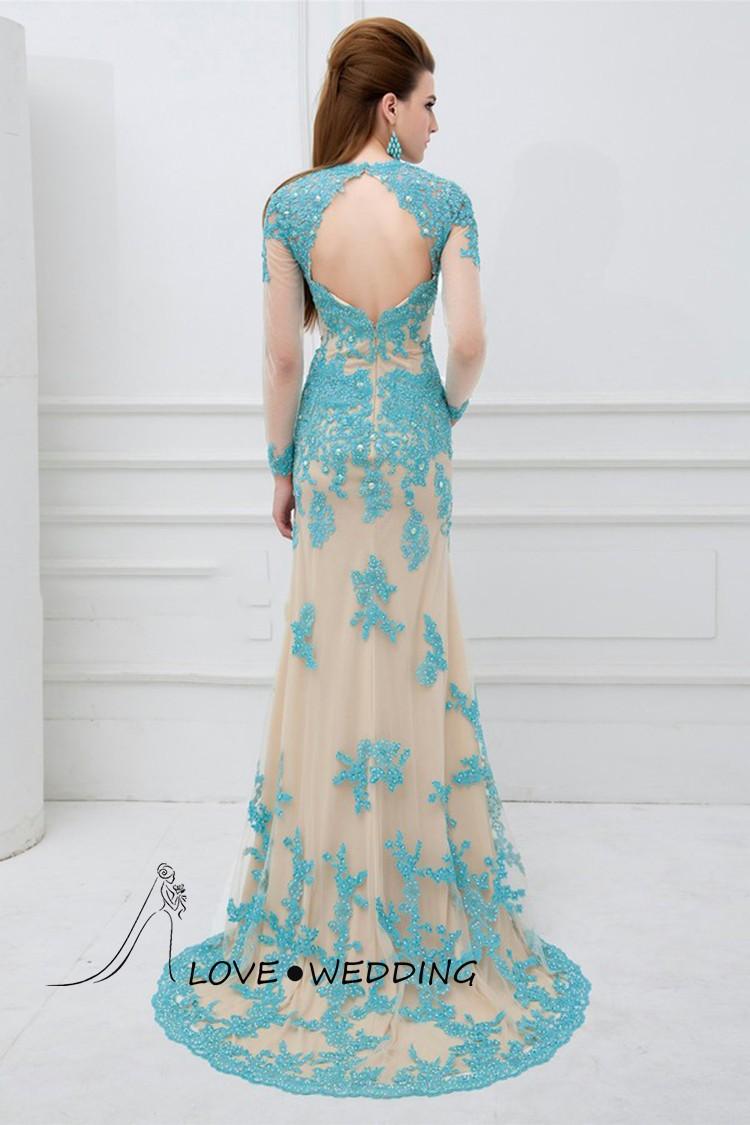 Charming Blue Long Sleeve Mermaid Lace Appliqued Muslim Prom Dresses ...