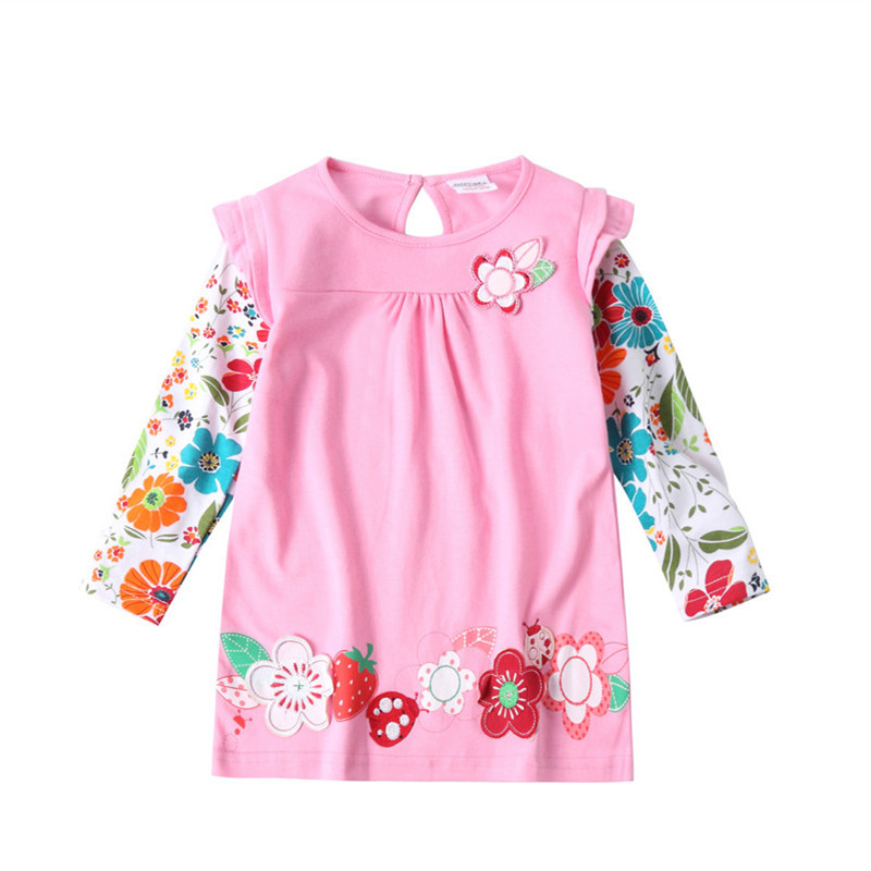 Bebé Vestido de manga larga de algodón vestidos para niñas hermosa ...