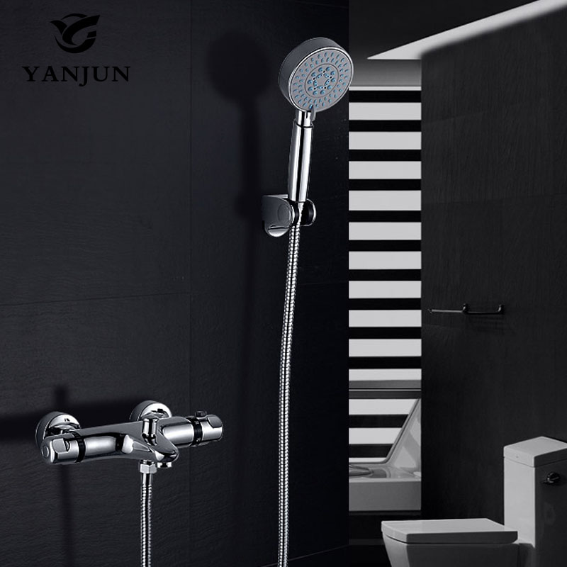 Yanjun Shower Faucet Sets Modern Thermostatic Bathroom Bath Shower Mixer Tap Valve Thermostatic Shower Faucet YJ-7807 xueqin bathroom bath shower faucets water control valve wall mounted ceramic thermostatic valve mixer faucet tap