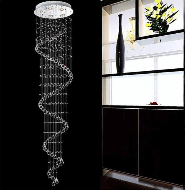 Led Crystal Chandelier Spiral Stair Pendant Lamps Double