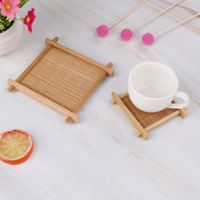 1pc Mini Handmade Bamboo Cup Mat Kung Fu Tea Accessories Table Placemats Coaster Coffee Cups Drinks Kitchen Product Mug Pads(China)