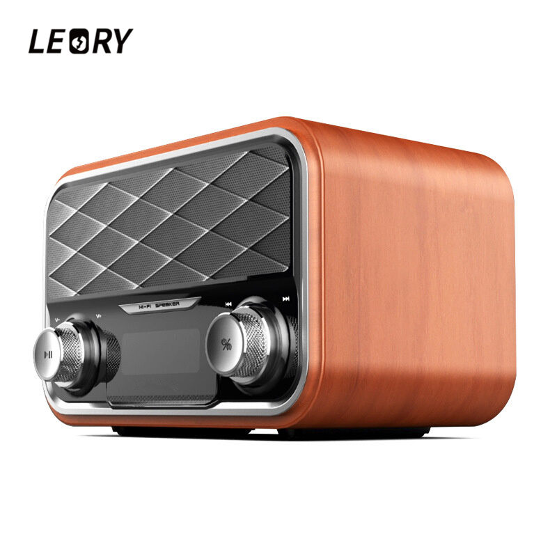 LEORY Bluetooth4.1 Wireless Wooden Speaker 2.0 Channel Subwoofer USB Portable Speaker FM Radio TF Multimedia Loudspeaker 2 1 subwoofer wireless bluetooth portable dual channel stereo speaker support aux input usb disk and tf card and fm radio lights