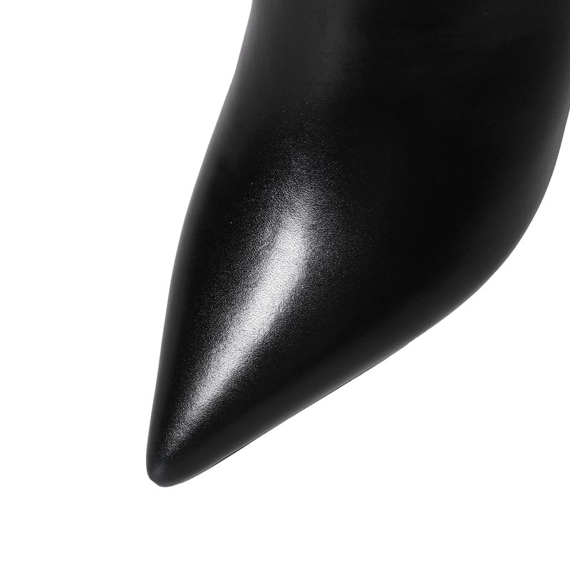 Inside J338 Vaca Inside Cuero Zapatos Cremallera Lisa Pu Mujeres Velvet Feminina Punta Inside Botas Grande Orcha black white Med 43 Size33 Genuino Estrecha De Talón Botines Black 1xUcg8q