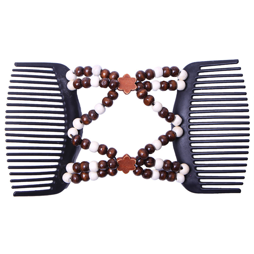 6 Bulk Fashion Women/'s Double Hair Comb Clip Stretchy Updo Tools Hair Slides