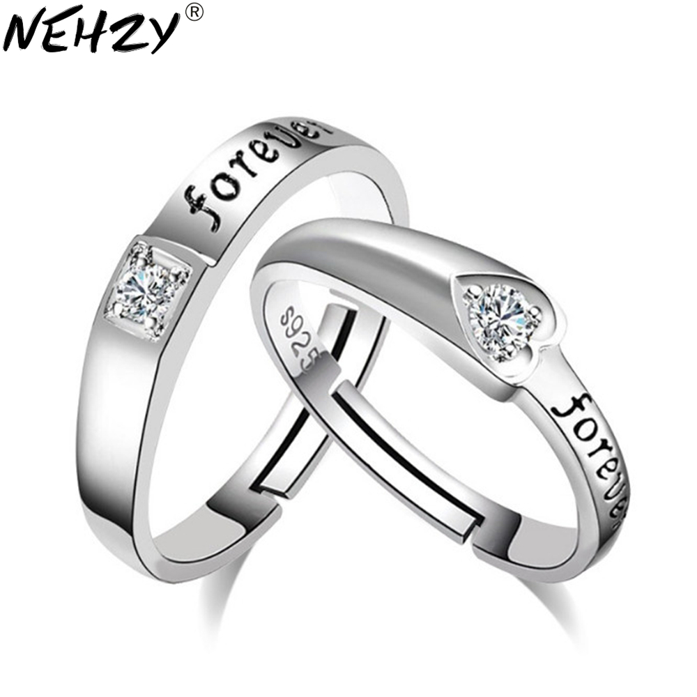 NEHZY 2017 Fashion brand silver jewelry English Dear heart-shaped wedding ring opening adjustable couple rings men and women