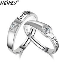 f818ffaa5b6e Nehzy moda 2017 marca joyería de plata inglés estimado boda en forma de  corazón anillo de apertura ajustable anillos par hombres.