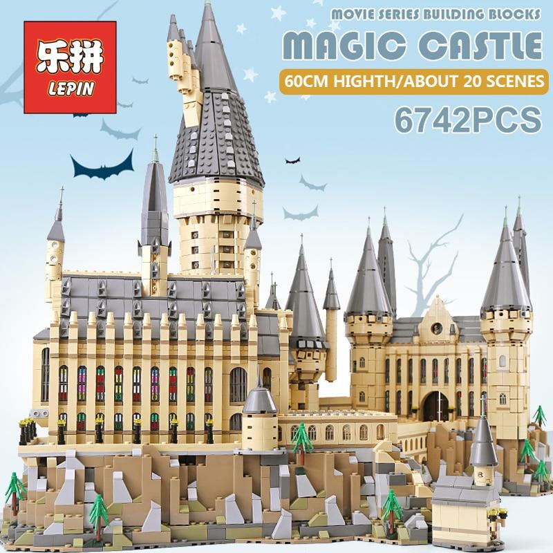 Lepin 16060 Harry Movie Potter Hogwarts Magic Castle Model Set Legoinglys Building Blocks 71043 Bricks Educational Children Toys creators building blocks dragon knight set compatible legoinglys harry potte castle magic architecture toys for children
