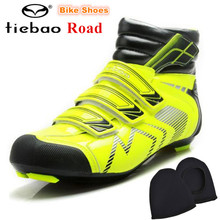 TIEBAO Professional Road Bike Shoes Winter Waterproof Cycling Shoes Auto Lock Shoes Non-slip Bicycle Boots Zapatos de ciclismo