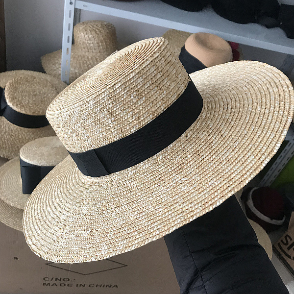 01904-axi  Classic Pure Color Handmade Straw  Lady Holiday Beach Fedoras  Cap Men Women Outdoor Panama Jazz Hat