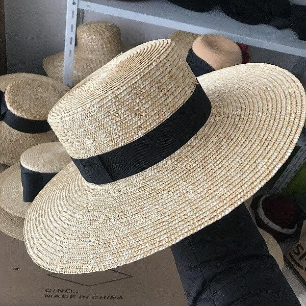 01904-axi  Classic Pure Color Handmade Straw  Lady Holiday Beach Fedoras  Cap Men Women Outdoor Panama Jazz Hat