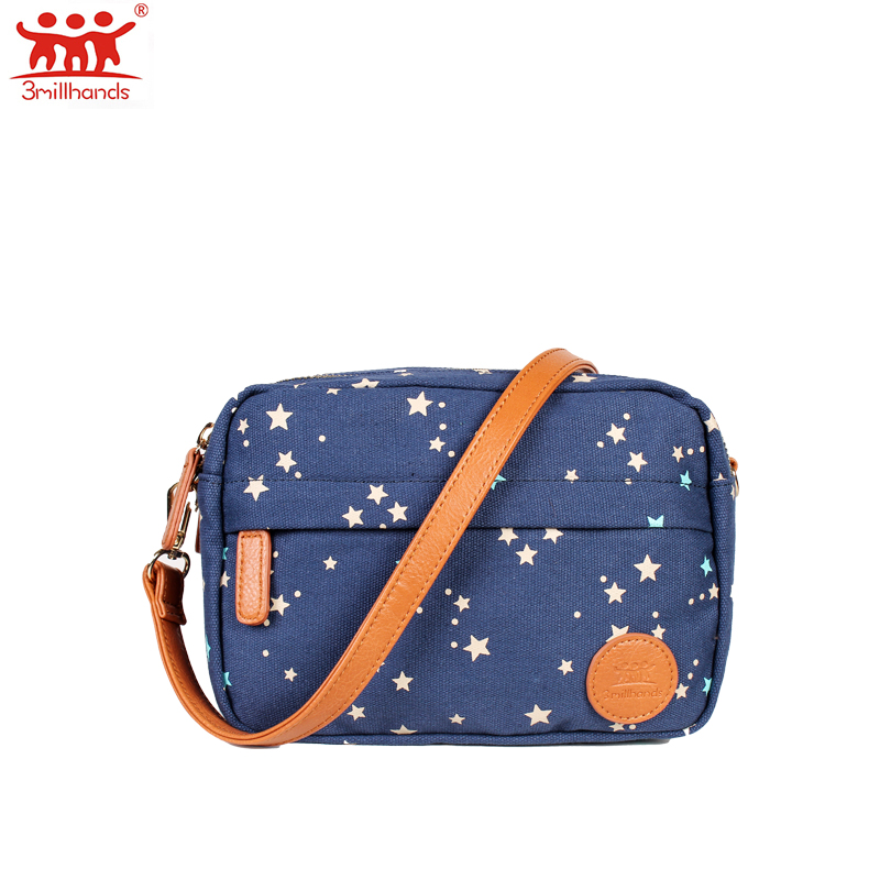 цена на Limited Edition 3Millhands canvas women shoulder bag small flap women bag floral stars blue canvas crossbody bag