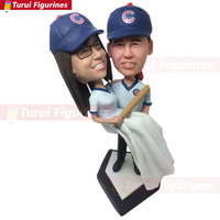 Chicago Cubs Personalized Wedding Cake Topper Bobble Head Baseball Cake Topper Cubs Groom Holding Bride Cake Topper bobblehead