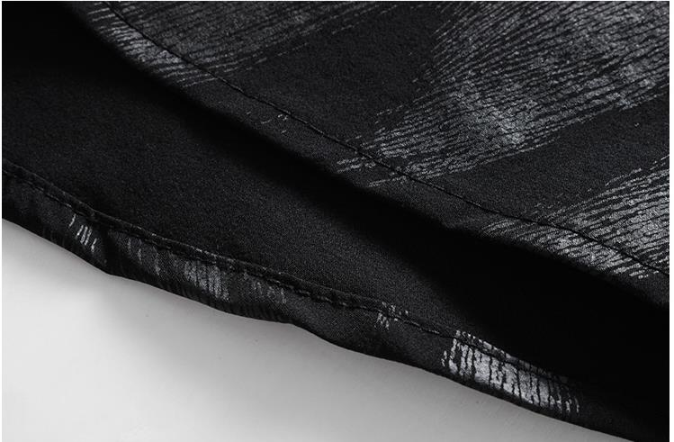 Batmo 2018 new arrival autumn high quality Spandex print casual shirt men,men's print shirts ,black shirts men plus-size 18103
