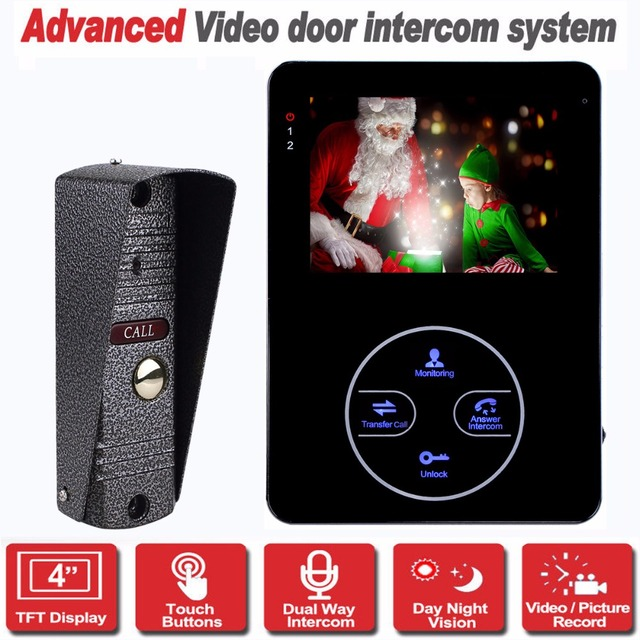 "4"" TFT Door Monitor Dual-way Video Intercom Door Phone Recorder System IR Camera Support Security CCTV Camera&SD Card F1371A"