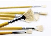 New High Quality 10 Ssuit fish tail fan shape pen bristle acrylic brush painting gouache watercolor pen art supplies
