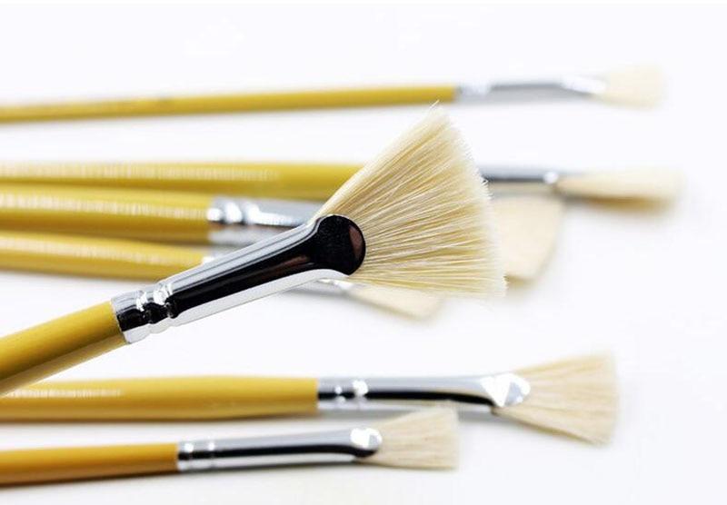 Nouveau Haute Qualité 10 Ssuit queue de poisson fan forme stylo poils acrylique brosse peinture gouache aquarelle stylo fournitures d'art