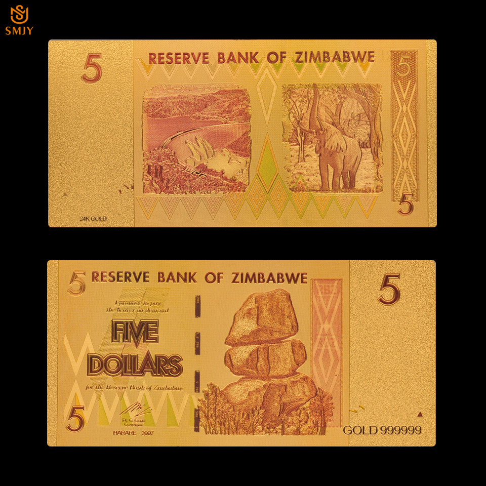 2018 Zimbabwe Currency Multicolor <font><b>5</b></font> <font><b>Dollar</b></font> Gold Foil Bank <font><b>Bill</b></font> Gold Banknote Paper Money Collection For Gift image
