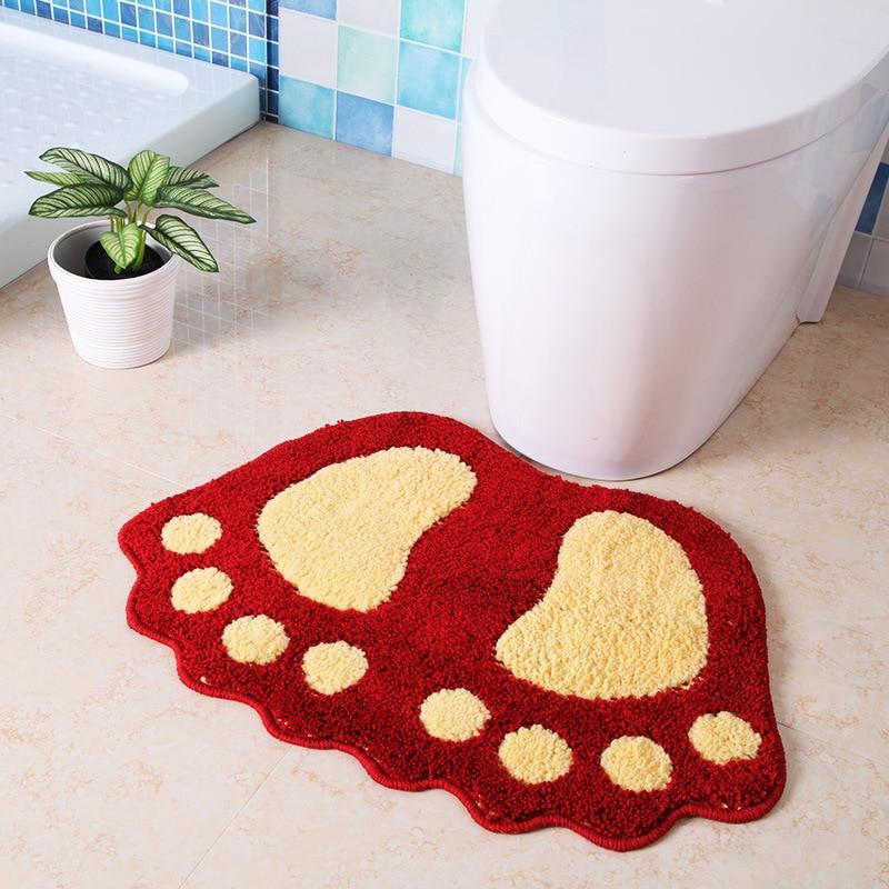 Bathroom Rug Bath Pad Carpets Microfiber Mini Mats Foot Print Bath Mats Non-slip Bathroom Carpet,Mat Toilet Tapete Para Banheiro