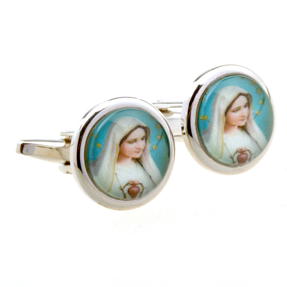 Father Day Virgin Mary Cufflinks For Men/Women Silver Color Catholic Religious Trendy Jewelry & Gift Shirts Cuff Links