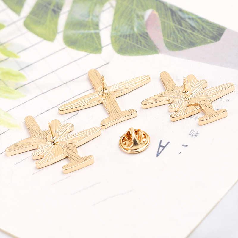 2019 Logam Kartun Garis Pesawat Pesawat Udara Bros Enamel Bros Pin Lencana Aksesoris Perhiasan Wanita Pria Hadiah Koleksi