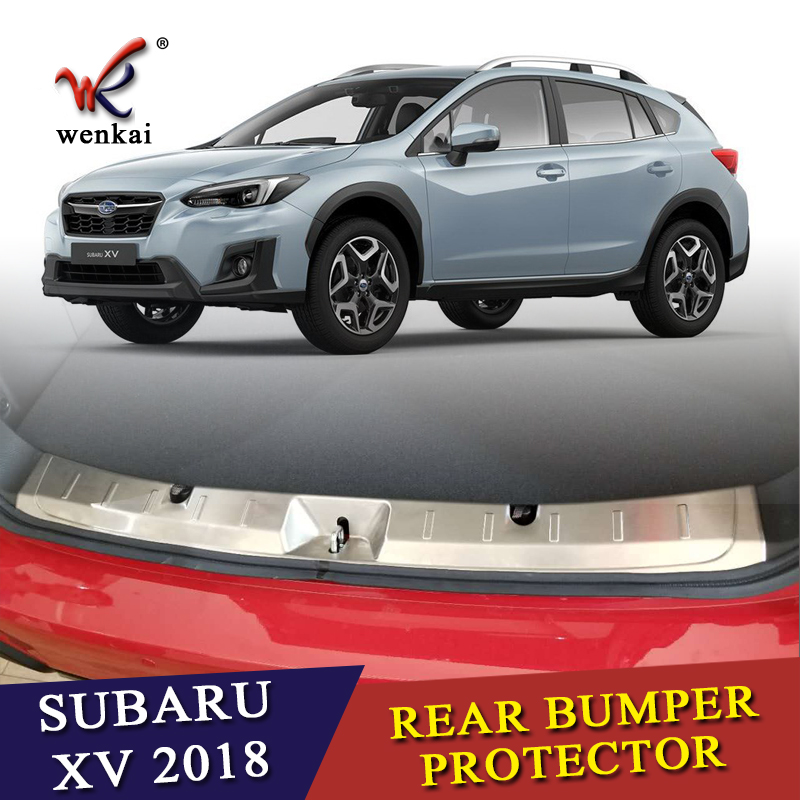 ACCESSORIES FIT FOR SUBARU XV 2017 2018 REAR BUMPER PROTECTOR STEP PANEL BOOT COVER SILL PLATE TRUNK TRIM for subaru xv 2017 2018 suv stainless steel rear bumper protector sill trunk rear guard plate cover trim car styling accessories