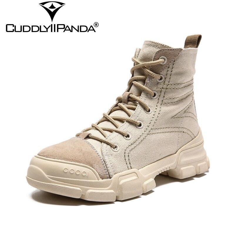 CuddlyIIPanda 2019 automne nouveau Western Desert bottes en peau de porc Denim femmes mode bottes loup guerriers militaires bottes mi-mollet