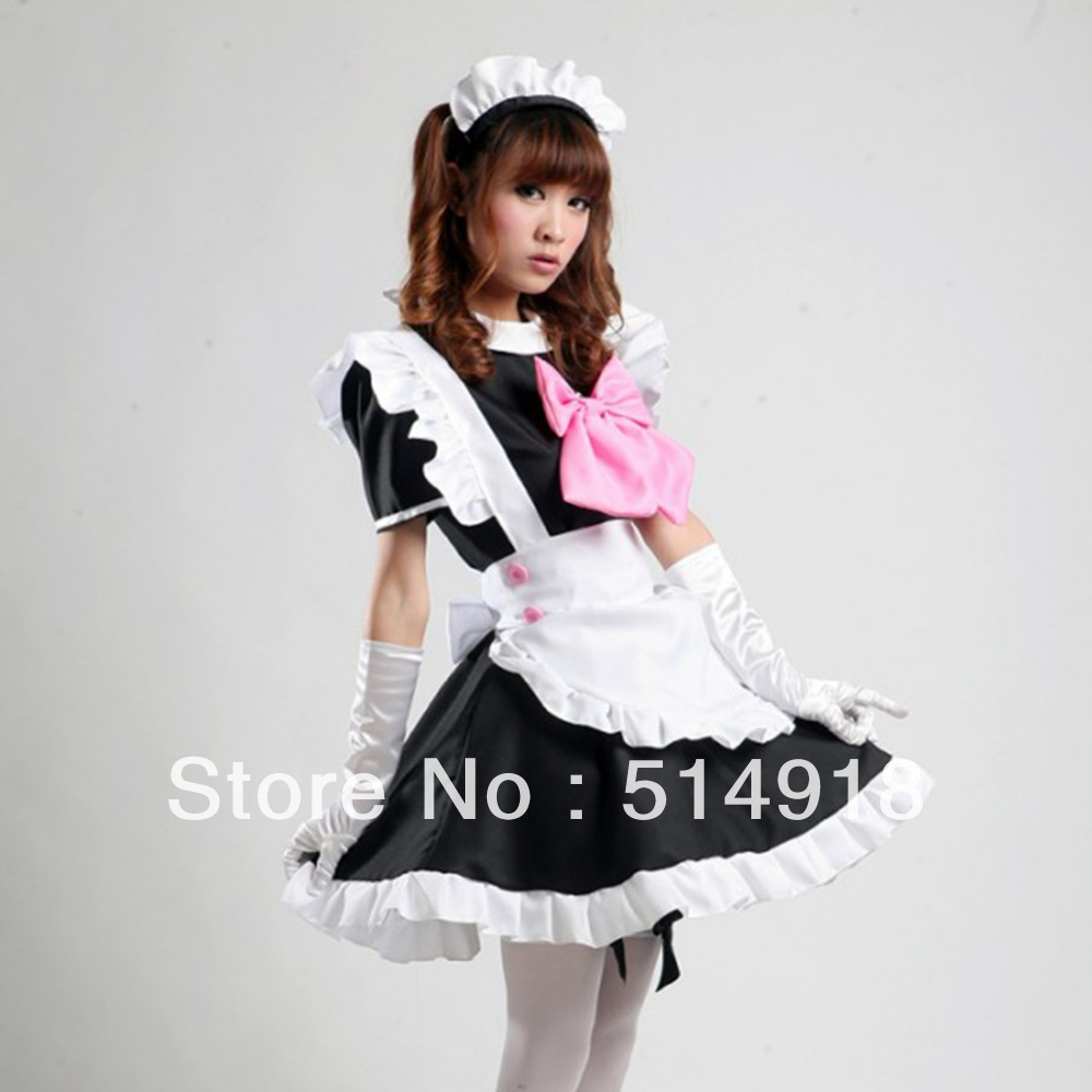 Tomsuit classic black and white cute cafe maid outfits french maid tomsuit classic black and white cute cafe maid outfits french maid costume fancy party dress with pink bow for halloween in anime costumes from novelty solutioingenieria Gallery