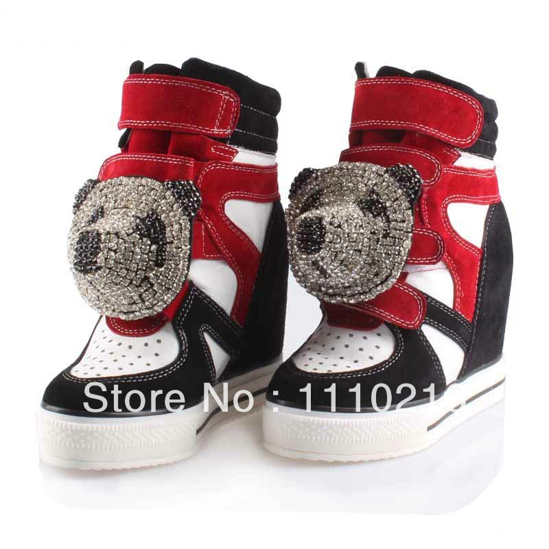 2018 fashion patchwork high-top thick bottom rhinestone hidden wedge high heel genuine leather casual shoes wedges platform boot