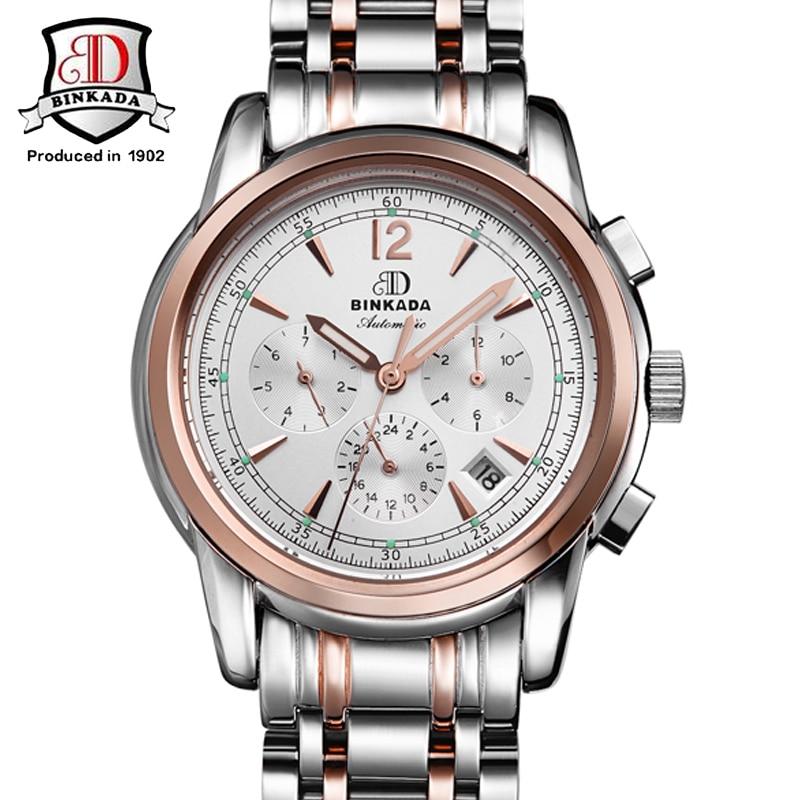 ФОТО 2017BINKADA Stainless Steel Men Wristwatches Auto Date Top Brand Luxury Sport New Automatic Mechanical Watch Fashion Watches