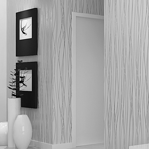 Image 2 - Plain Grey Silver Stripes Flocked Wallpaper Room Decor Modern Luxury Striped Texture Solid Gray Background Wall Paper Roll