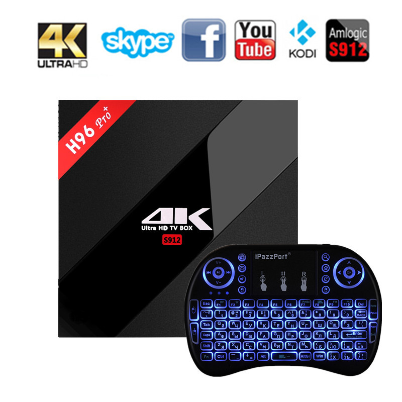 H96 Pro Plus+ TV Box MAX 3GB 32GB Android 7.1 OS BT 4.1 Amlogic S912 Octa Core CPU 2.4GHz+5.0GHz WiFi Media Player Smart TV BOX