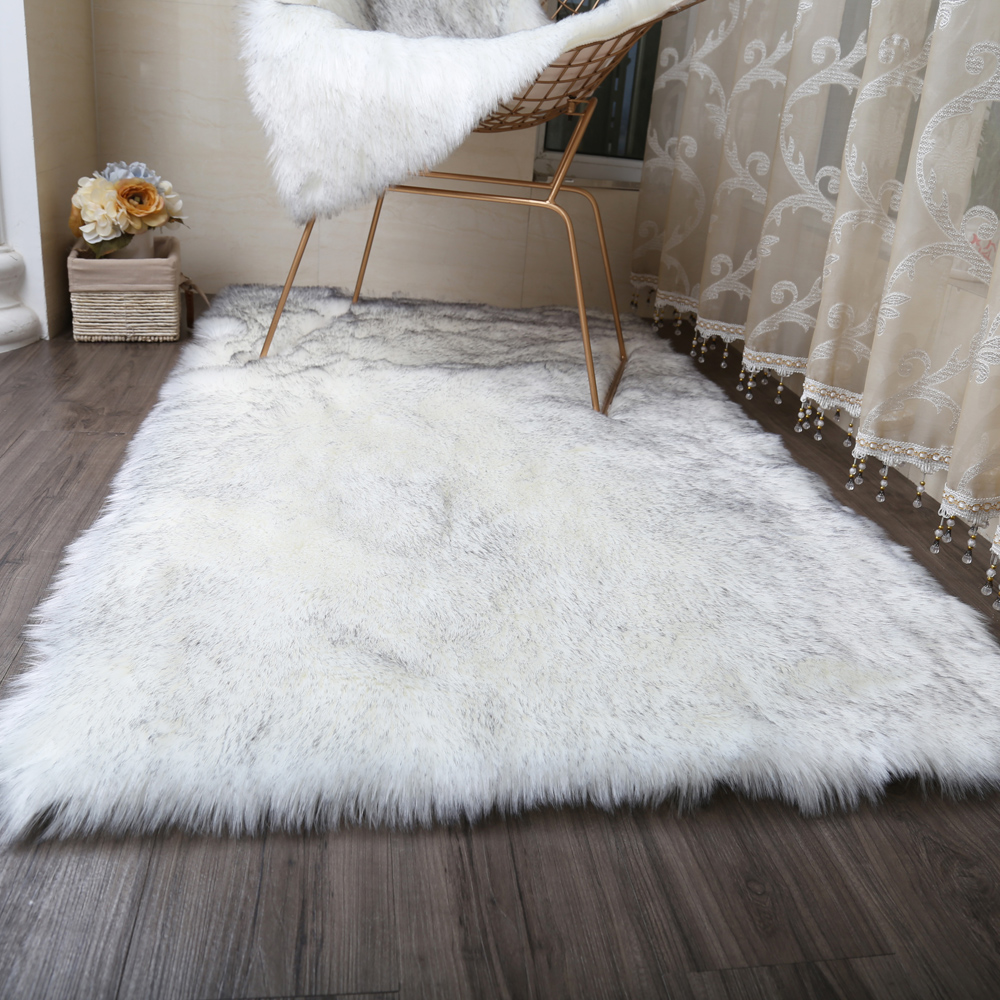 MUZZI  Hairy Carpets 2018 New Sheepskin Plain Fur Skin Fluffy Bedroom Faux Mats Washable Artificial Textile Area Square Rugs