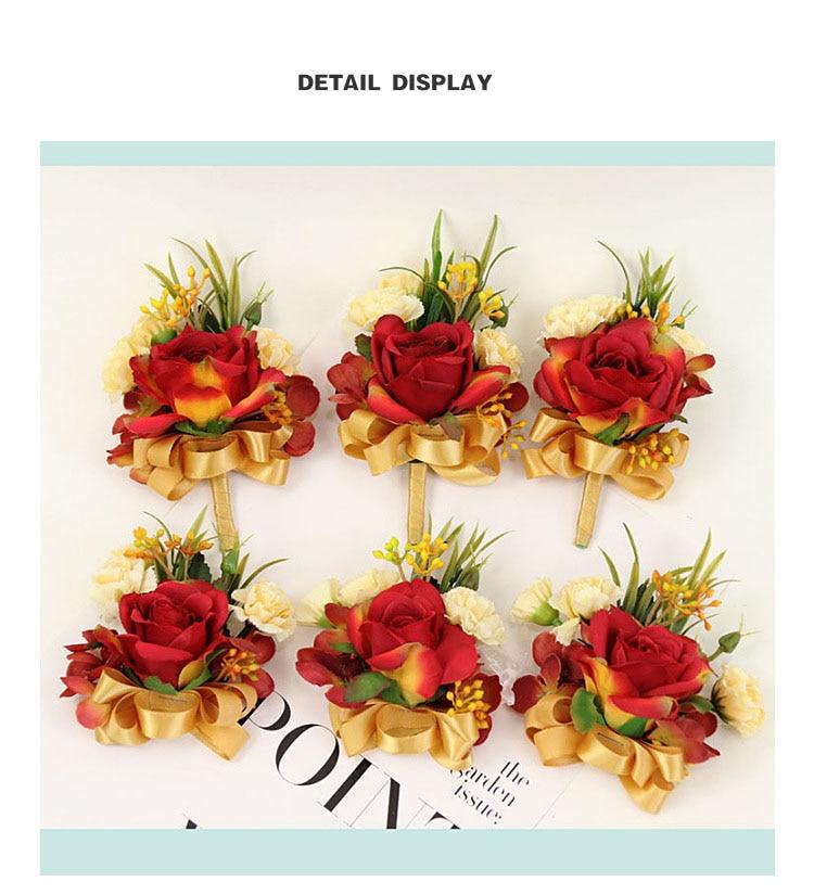 bridesmaid bracelet wedding corsage flowers roses artificial  (4)