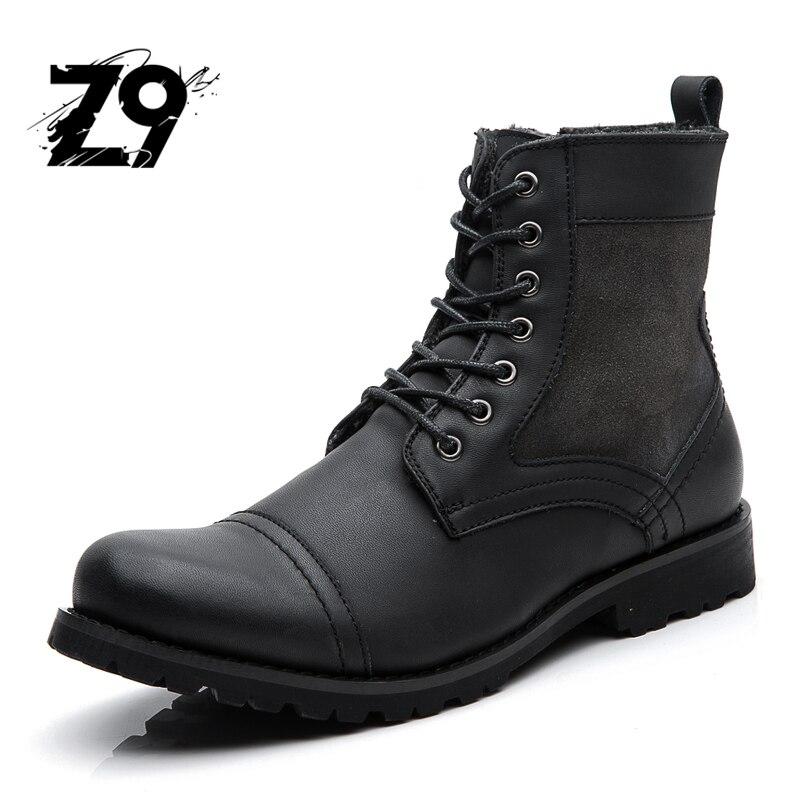 Новые мужские ботинки, модная Повседневная Высокая обувь, ковбойский стиль, высокое качество, на шнуровке, Классические Кожаные ботильоны, ...