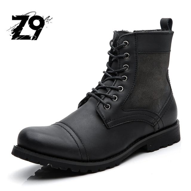 Популярные новые мужчины сапоги моды случайные высокие ботинки ковбойском стиле высокого качества на шнурках классические кожаные лодыжки бренда дизайн зимний сезон