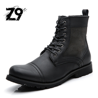 Top New Men Boots Fashion Casual High Shoes Cowboy Style High Quality Lace Up Classic Leather