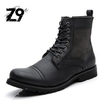 Top new men buty mody przypadkowi wysokie buty sznurowane klasyczne skórzane kostki cowboy styl wysokiej jakości marka projekt sezon zimowy