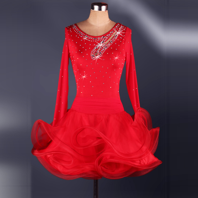 520843c6a Adult female Latin dance costumes red blue black pink dress salsa tango cha  cha ballroom rhinestone dance dresses