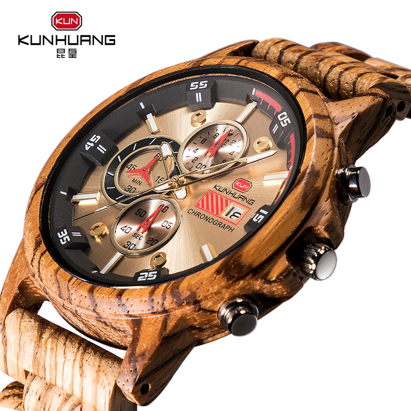 Wooden Watch Chronograph Military Outdoor Relogio Masculino Men Luxury Sport Casual Quartz