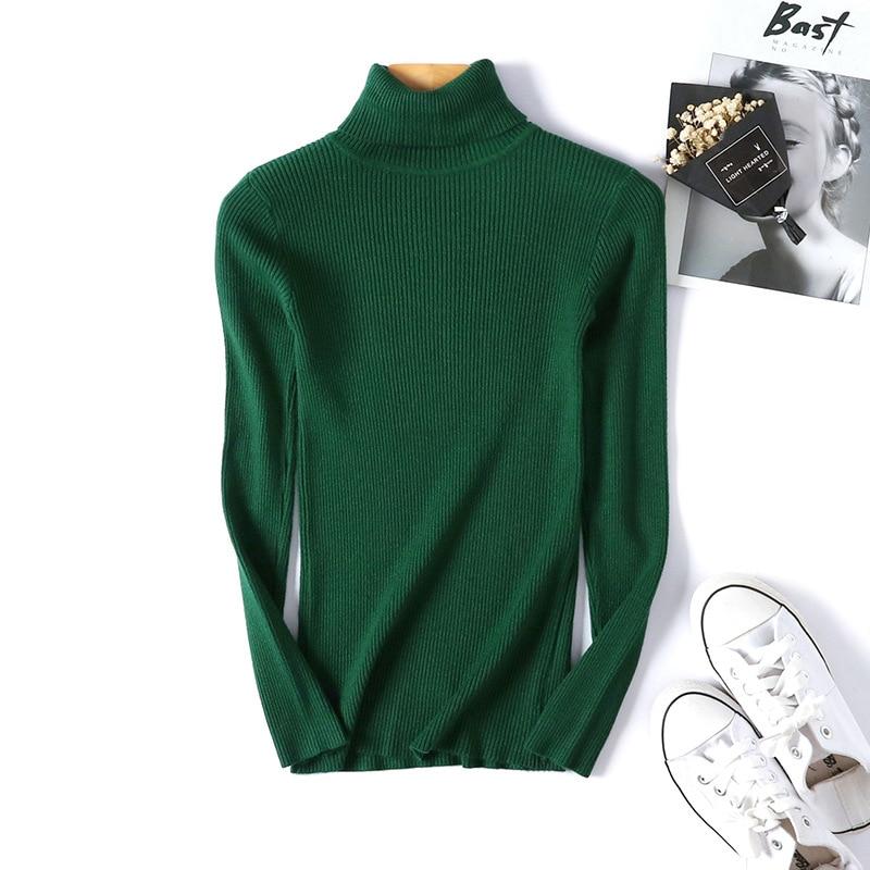 Winter autumn turtleneck Black Sweater Women Skinny Elastic Knitted Soft Pullover Sweater female 19 korean fashion Pullovers 9