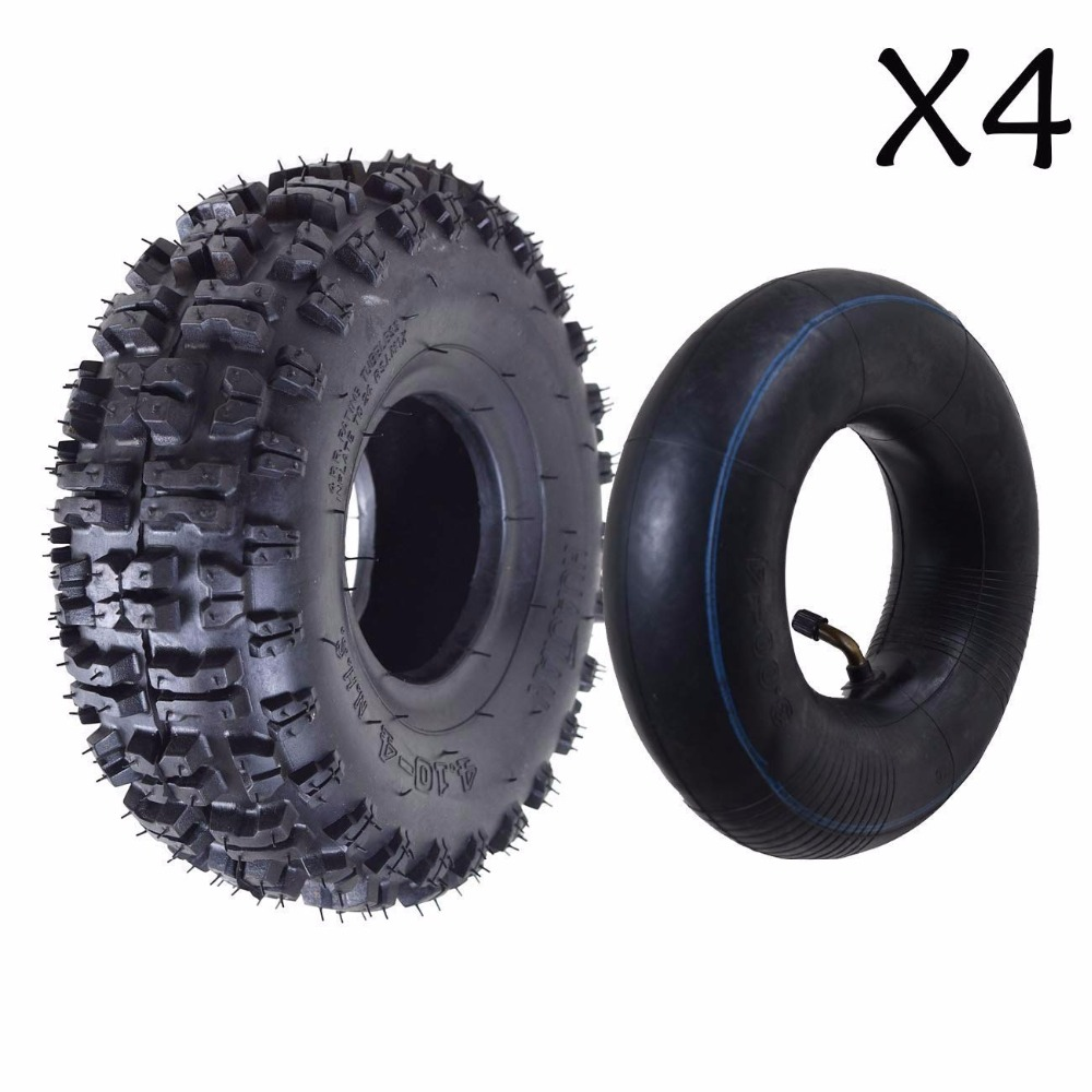 Electric Vehicle Parts 4pcs Ins 4.10/3.50-4 Tire And Inner Tube Set For Garden Rototiller Snow Blower Go Cart Kid Atv Accessories