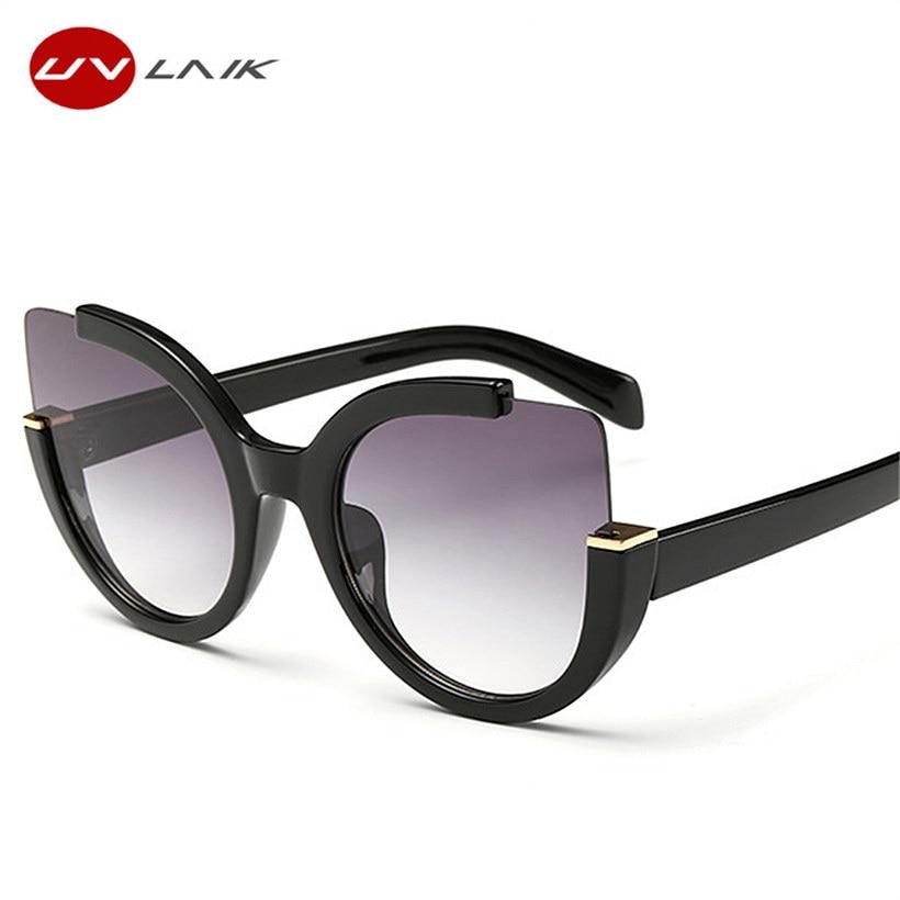 UVLAIK Ojo de gato Gafas de sol para mujer Damas grandes Cateyes Gafas de sol Mujeres Diseñador de la marca Gafas UV400