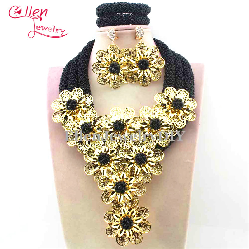 Luxury dubai beaded jewelry sets Nigerian wedding bridal beads necklace African accessories beads jewelry sets E1140 цены онлайн